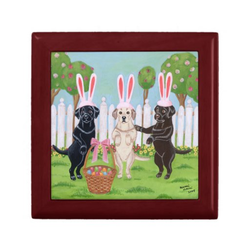 Labrador Easter Bunnies Painting Jewelry Box