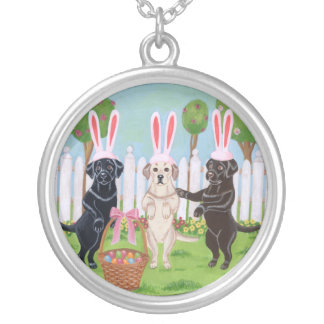 Labrador Easter Bunnies Painting Silver Plated Necklace