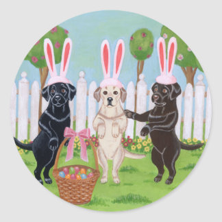 Labrador Easter Bunnies!! Classic Round Sticker