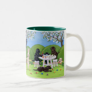 Labrador & Easter Eggs Painting Two-Tone Coffee Mug