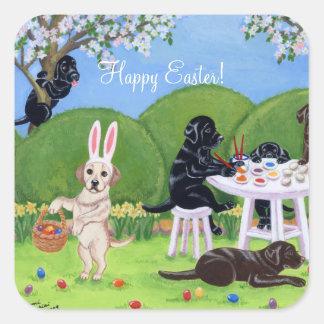 Labrador & Easter Eggs Square Sticker