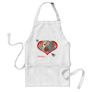 Labrador en delantal del corazón