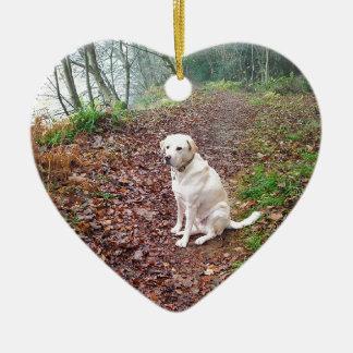 Labrador en los bancos del otoño adorno de cerámica en forma de corazón