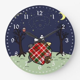 Labrador Family and Starry Sky Large Clock