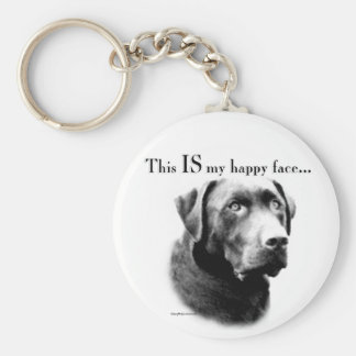 Labrador Happy Face Basic Round Button Keychain
