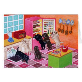 Labrador Kitchen Party Painting Greeting Card