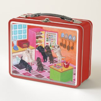 Labrador Kitchen Party Painting Metal Lunch Box