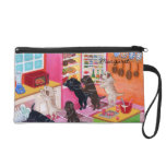 Labrador Kitchen Party Painting Wristlet Clutch