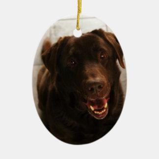 Labrador lindo adorno ovalado de cerámica