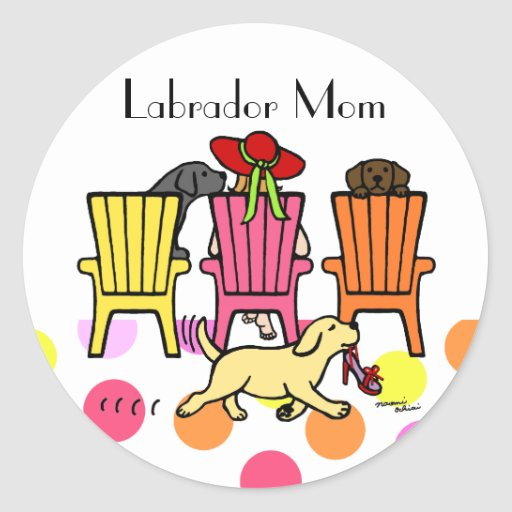 Labrador Mom at Poolside Classic Round Sticker