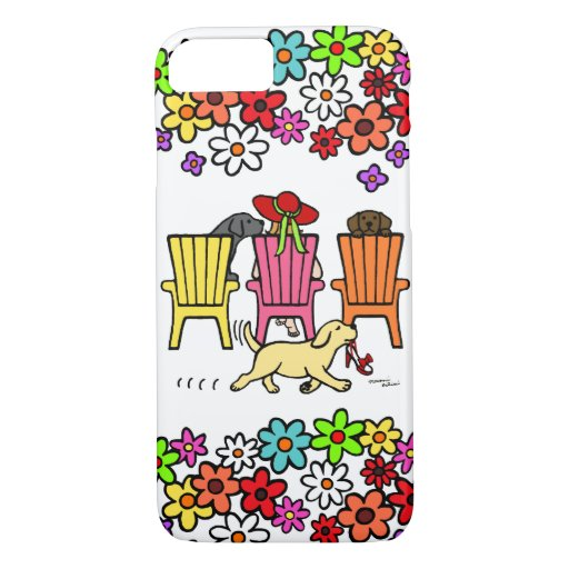 Labrador Mom at Poolside Floral iPhone 7 Case