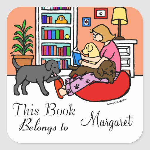 Labrador Mom Reading Square Sticker
