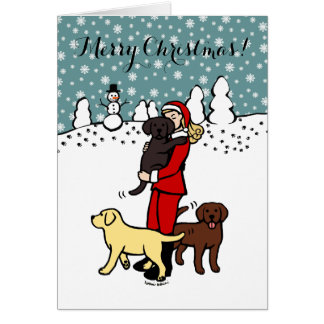 Labrador Mom Santa Christmas Card Dark