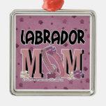 Labrador MOM Square Metal Christmas Ornament