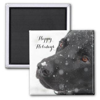 Labrador negro buenas fiestas imán cuadrado