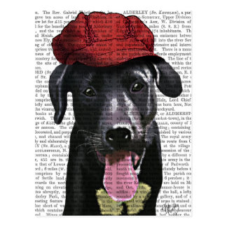 Labrador negro con el casquillo rojo tarjetas postales