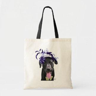Labrador negro con Fascinator azul Bolsa Tela Barata