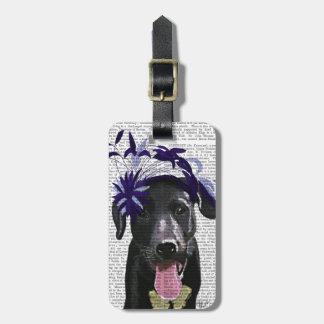 Labrador negro con Fascinator azul Etiquetas Maletas
