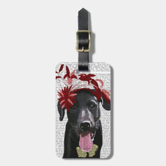Labrador negro con Fascinator rojo Etiqueta De Maleta