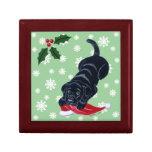 Labrador negro con navidad del gorra de Santa Caja De Joyas