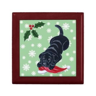 Labrador negro con navidad del gorra de Santa Joyero Cuadrado Pequeño