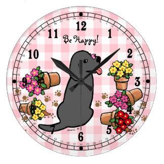 Labrador negro dañoso reloj redondo grande