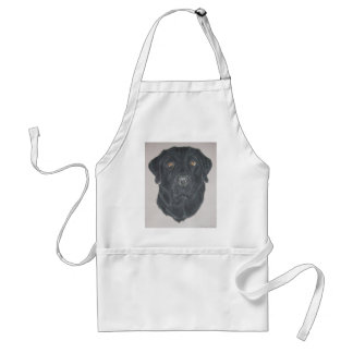Labrador negro delantal