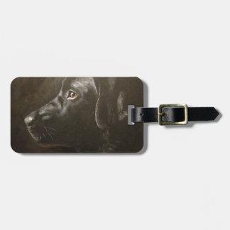 Labrador negro etiqueta de maleta