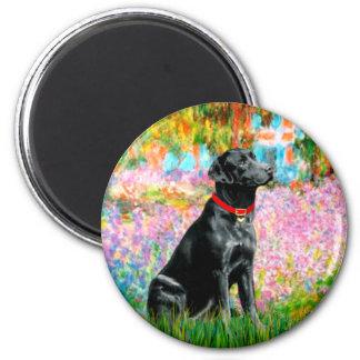 Labrador (negro) - jardín imán redondo 5 cm