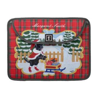 Labrador negro personalizado Santa Fundas Macbook Pro