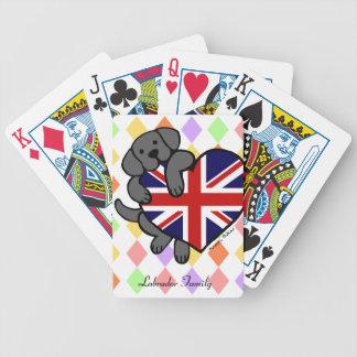 Labrador negro y dibujo animado del corazón 2 de l cartas de juego