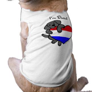 Labrador negro y dibujo animado holandés del coraz playera sin mangas para perro