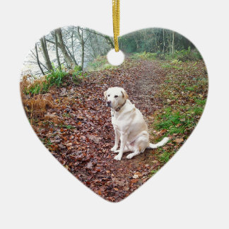 Labrador on Autumn Banks Ceramic Ornament
