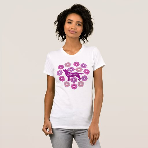 Labrador Outline and Purple Floral new Tshirt