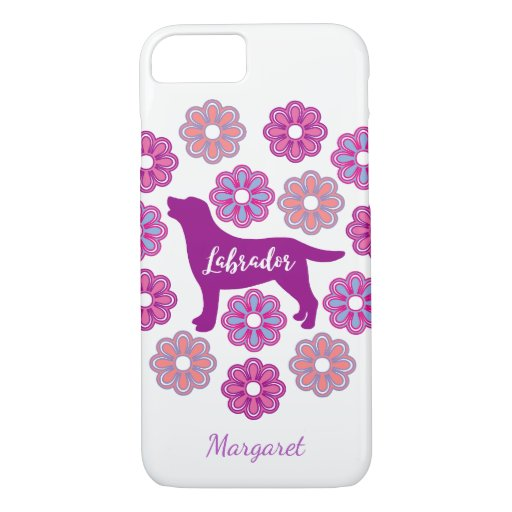 Labrador Outline and Purple Flowers iPhone Case