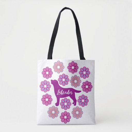 Labrador Outline and Purple Flowers new Bag