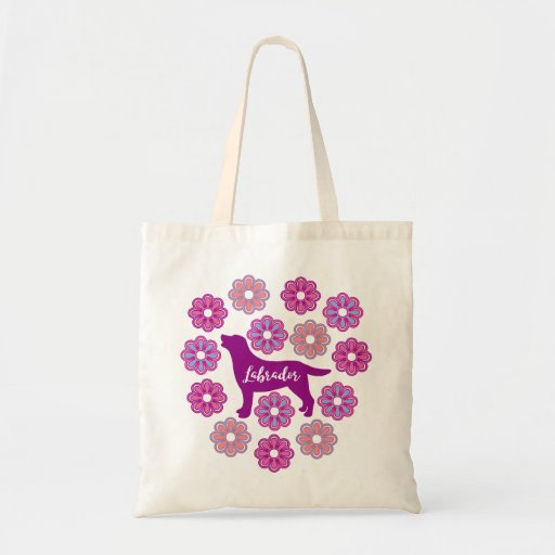 Labrador Outline and Purple Flowers new Tote Bag