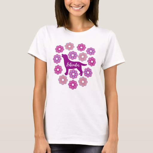 Labrador Outline and Purple Flowers new Tshirt