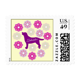 Labrador Outline and Purple Flowers Postage