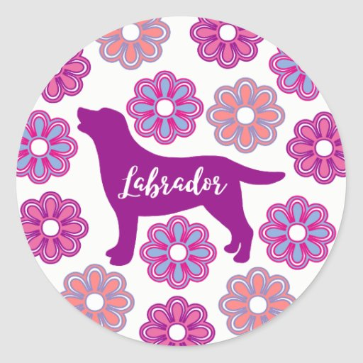 Labrador Outline and Purple Flowers Stickers
