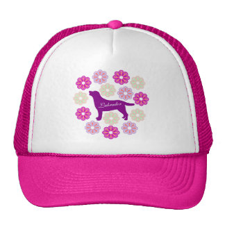 Labrador Outline and Purple Flowers Trucker Hat