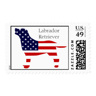 Labrador Outline in Stars and Stripes Stamp