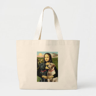 Labrador pair (B+Y) - Mona Lisa Large Tote Bag