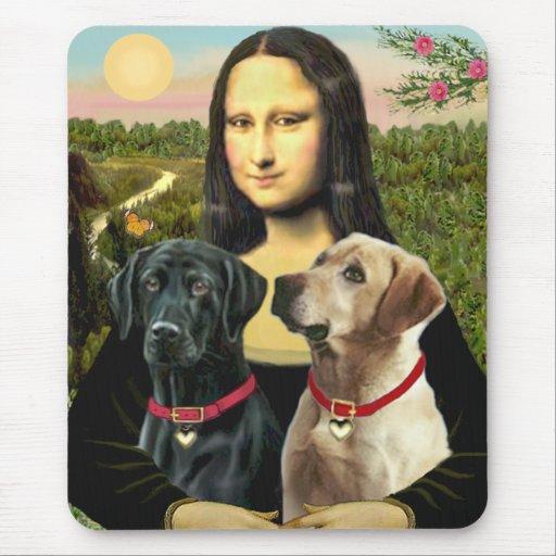Labrador pair (B+Y) - Mona Lisa Mouse Pad