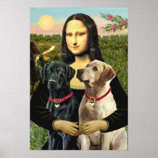 Labrador pair (B+Y) - Mona Lisa Poster