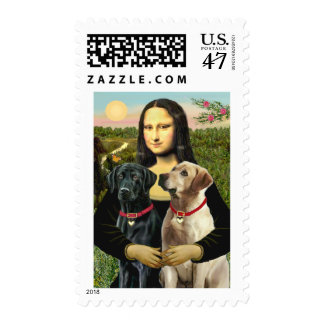 Labrador pair (B+Y) - Mona Lisa Stamp