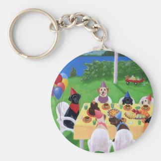 Labrador Party Basic Round Button Keychain