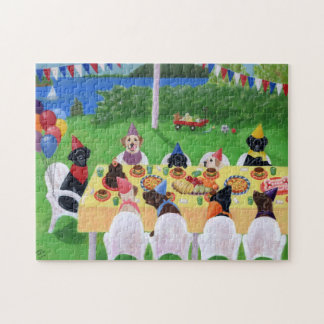 Labrador Party Painting Jigsaw Puzzle