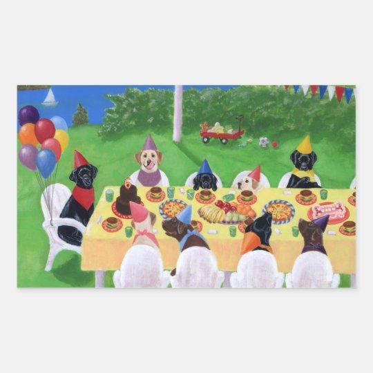 Labrador Party Painting Rectangular Sticker
