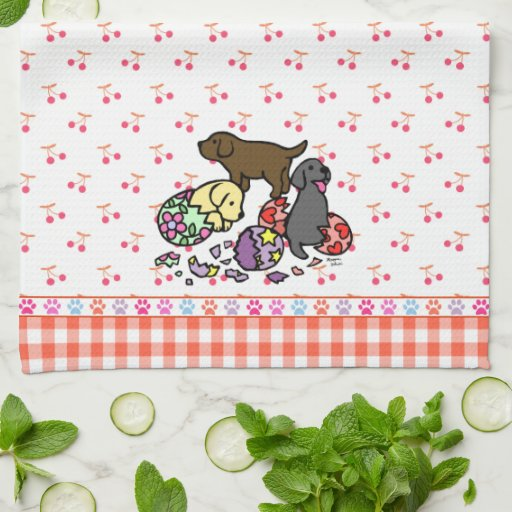 Labrador Puppies from Eggs Cartoon Towels